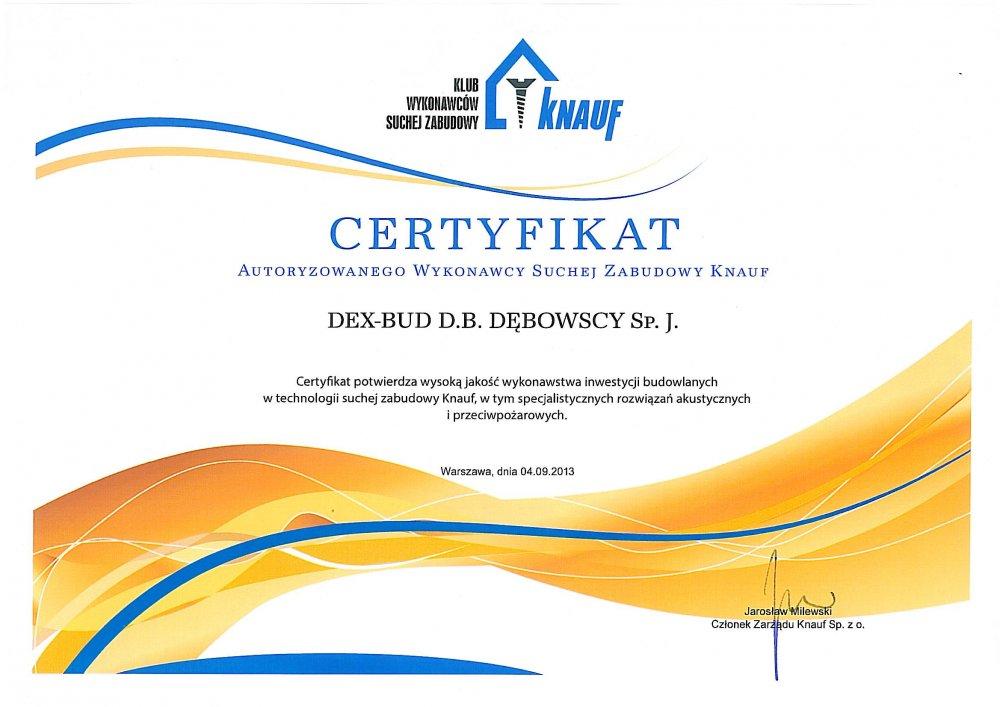 Certyfikat Knauf - Dex-Bud
