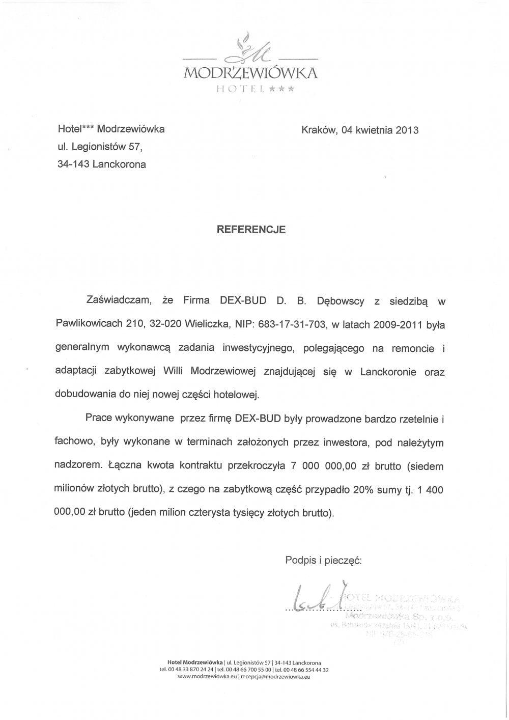 List referencyjny Hotel Modrzewiówka - Dex-Bud