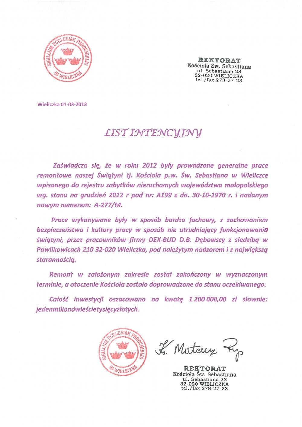 List referencyjny Kościół Św. Sebastiana - Dex-Bud