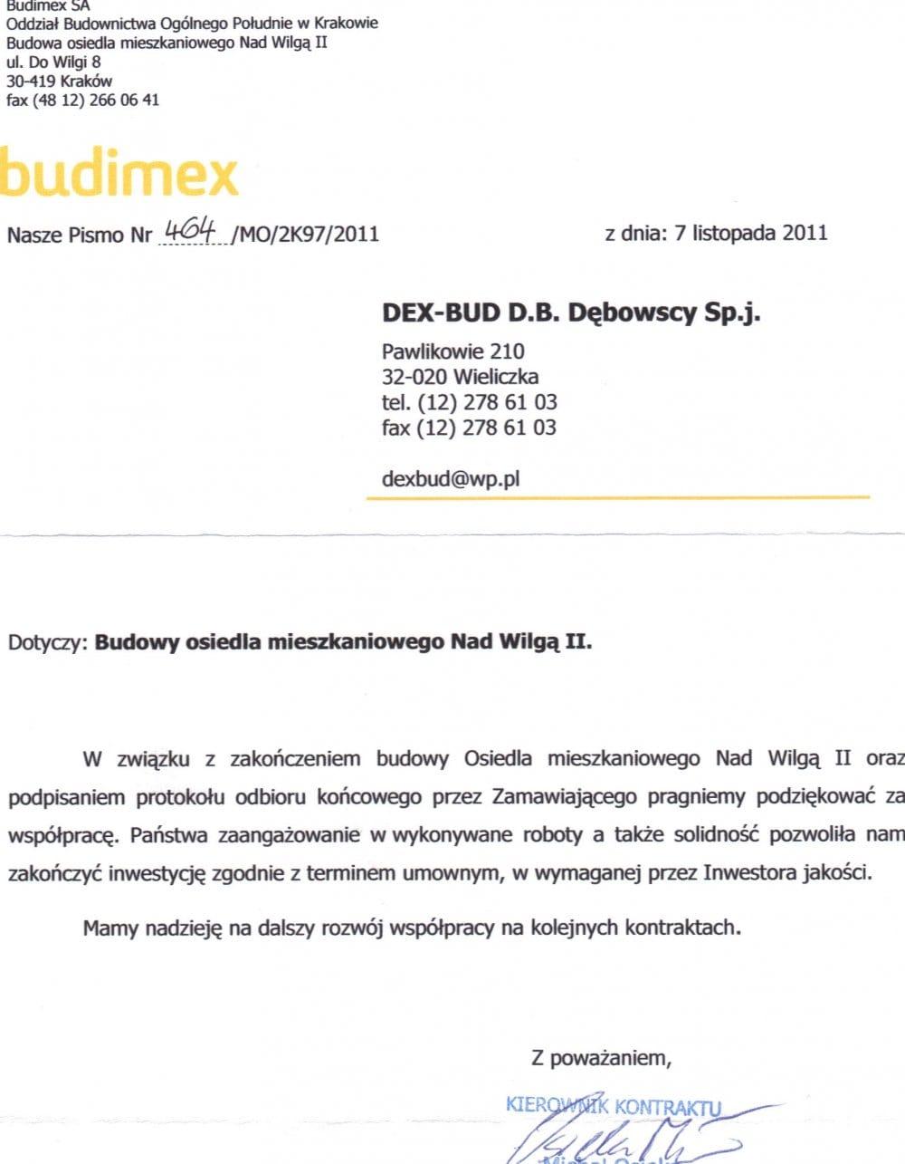 List referencyjny Budimex - Dex-Bud