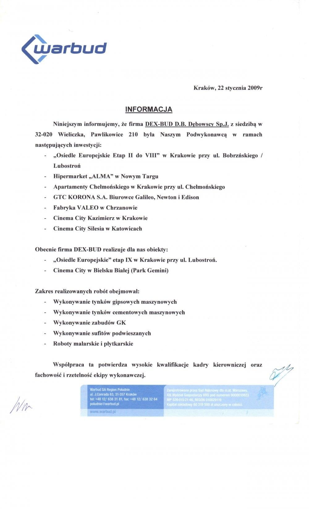 List referencyjny Warbud - Dex-Bud