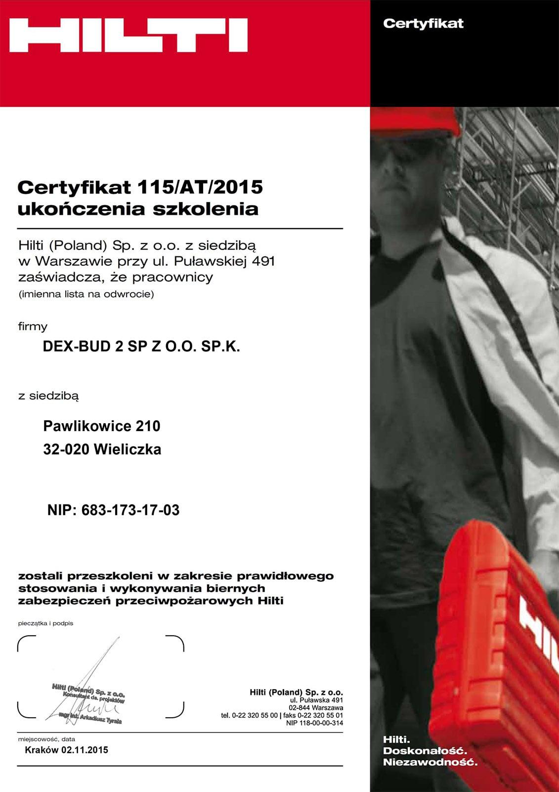 Certyfikat ukończenia szkolenia HILTI - Dex-Bud