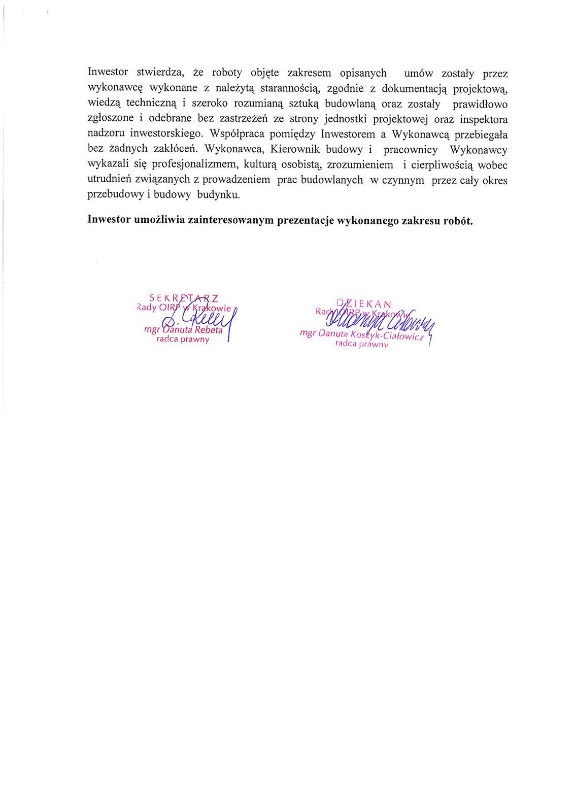 Referencje Okręgowa Izba Radców Prawnych w Krakowie - Dex-Bud