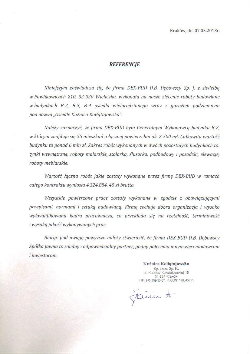 Referencje Os. Kuźnica Kołłątajowska - Dex-Bud