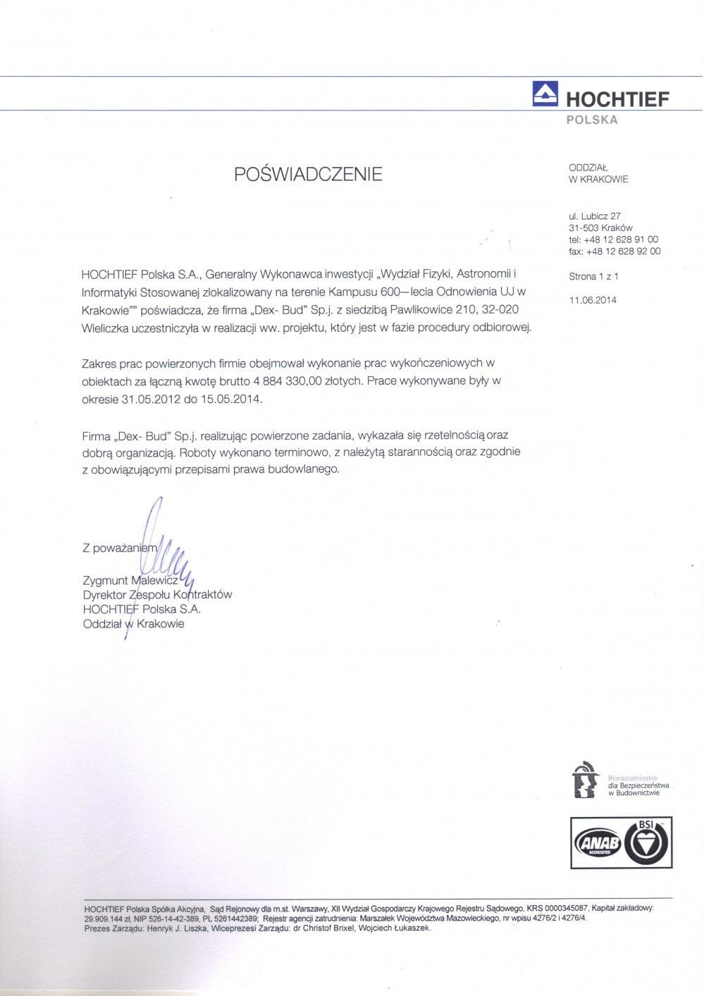 List referencyjny Hochtief - Dex-Bud