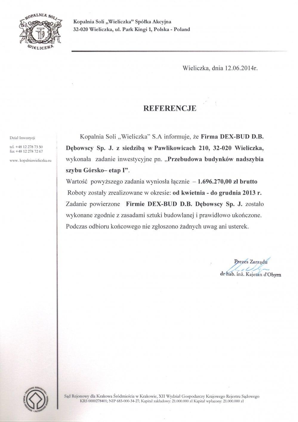 List referencyjny Kopalnia Soli Wieliczka - Dex-Bud