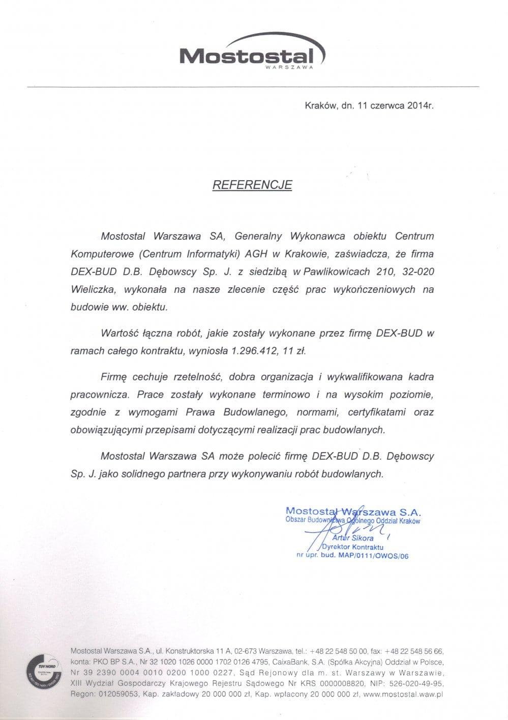 List referencyjny Mostostal - Dex-Bud